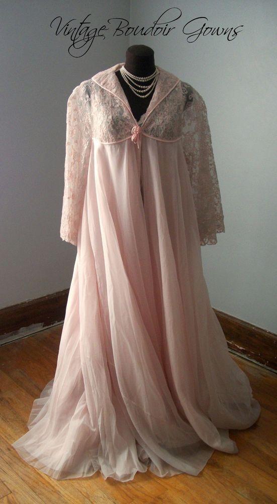 Vintage Double Chiffon Negligee Vintage Chiffon Robe 1960s Chiffon Negligee Vintage Pink Negligee