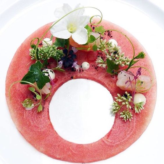 watermelon and prawns by chef Wuttisak on IG: