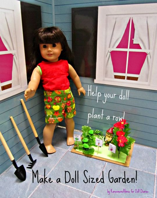How to make a doll sized garden from fun foam and basic craft supplies: