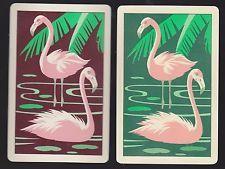 2 SINGLE VINTAGE PLASTIC SWAP PLAYING CARDS BIRDS PINK FLAMINGOS & PALMS