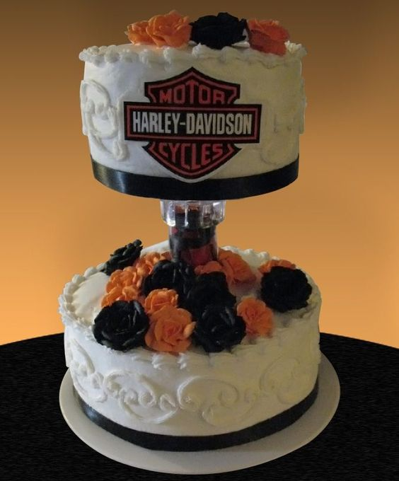 harley davidson wedding cake | Halloween. This cake was requested and it was my first wedding cake ...