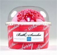 Strawberry Bath Sundae by Beau Bain. $7.95. How to use -	 Simply submerging it in the bath water will activate it.. Safe & Natural- FREE OF PARABENS, ANIMAL INGREDIENTS, SULFATES, AND UNNECESSARY CHEMICALS. MADE WITH BIODEGRADABLE INGREDIENTS. ECO-FRIENDLY. NOT TESTED ON ANIMALS.. Ingredients -    Sodium Bicarbonate, Citric Acid, Magnesium Sulfate (Epsom Salt), Dendritic Salt, Sucrosel, Sodium Prunus Dulcis (Sweet Almond) Oil, Grapeseed (Vitis Vinifera) Oil, Co...