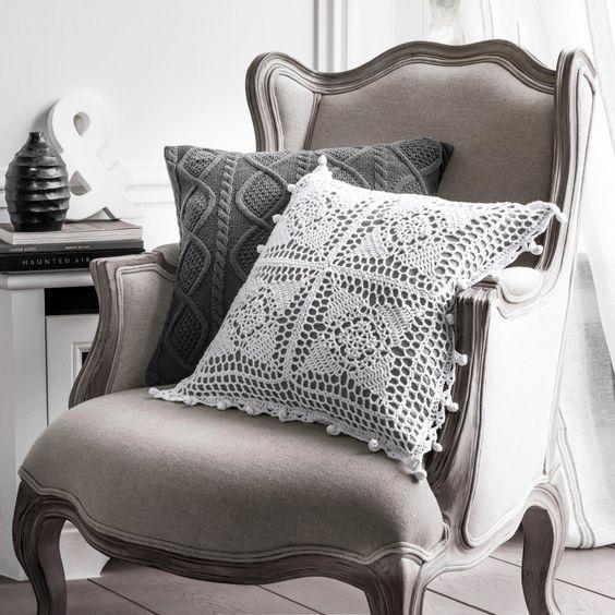 Capa de almofada em crochet button La Redoute Interieurs | La Redoute