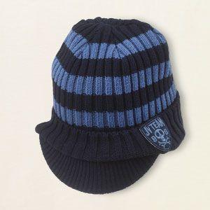 striped brim hat