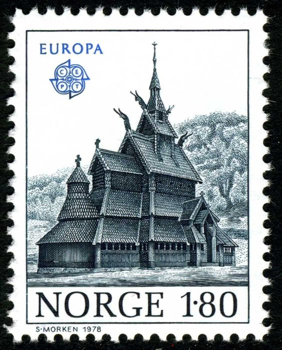 Stave Church on Norwegian Stamp, 1978