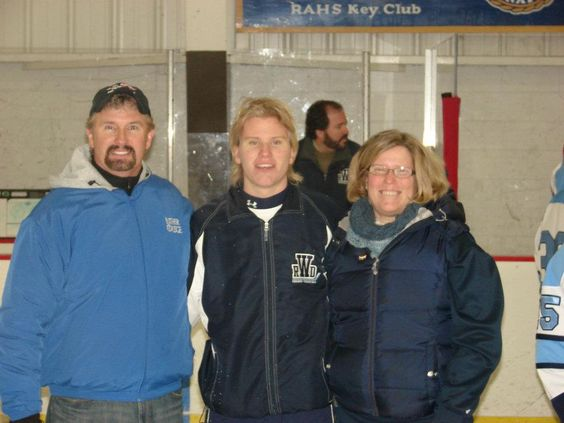Parent's night for hockey. Jeff,Cortland and me.