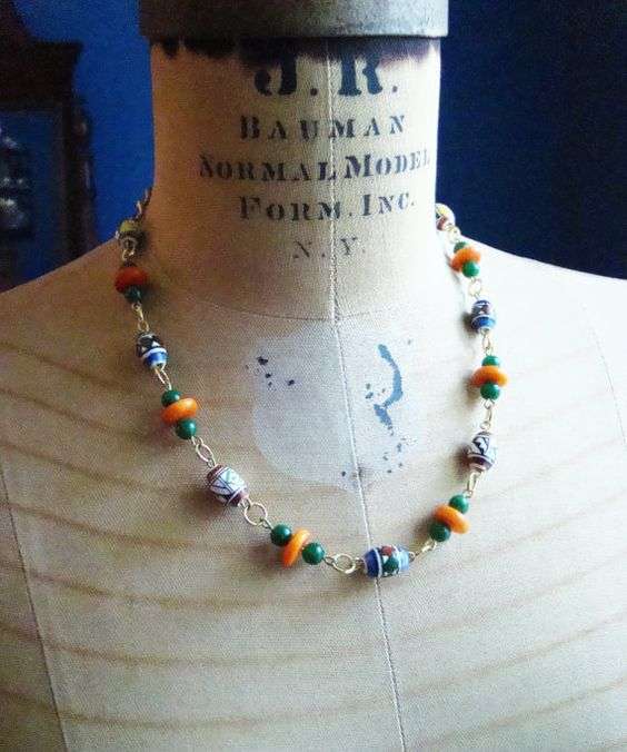 Hand-painted fair trade bead and gold handmade necklace