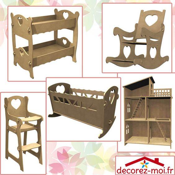 Meubles En Bois Pour Poupee Ou Animaux Lit Simple En Bois Lit Double Chaise Haute Lit A Bascule Rocking Chair Ar Maison En Carton Meuble Jouet Lit Poupee