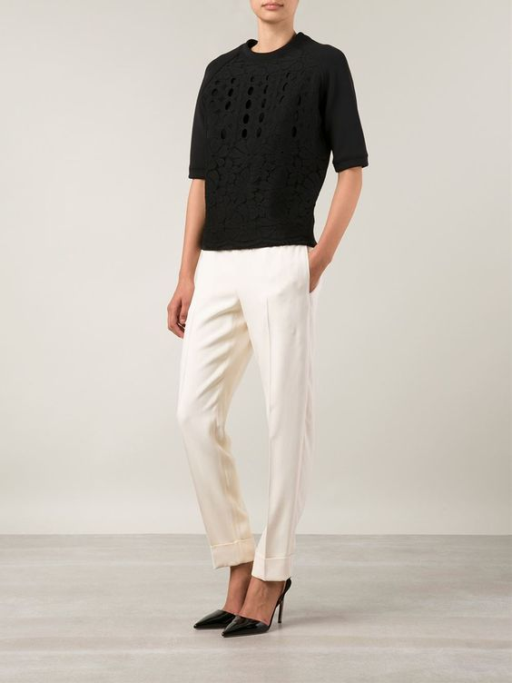 Lanvin Lace Short Sleeve Sweater - Forty Five Ten - Farfetch.com
