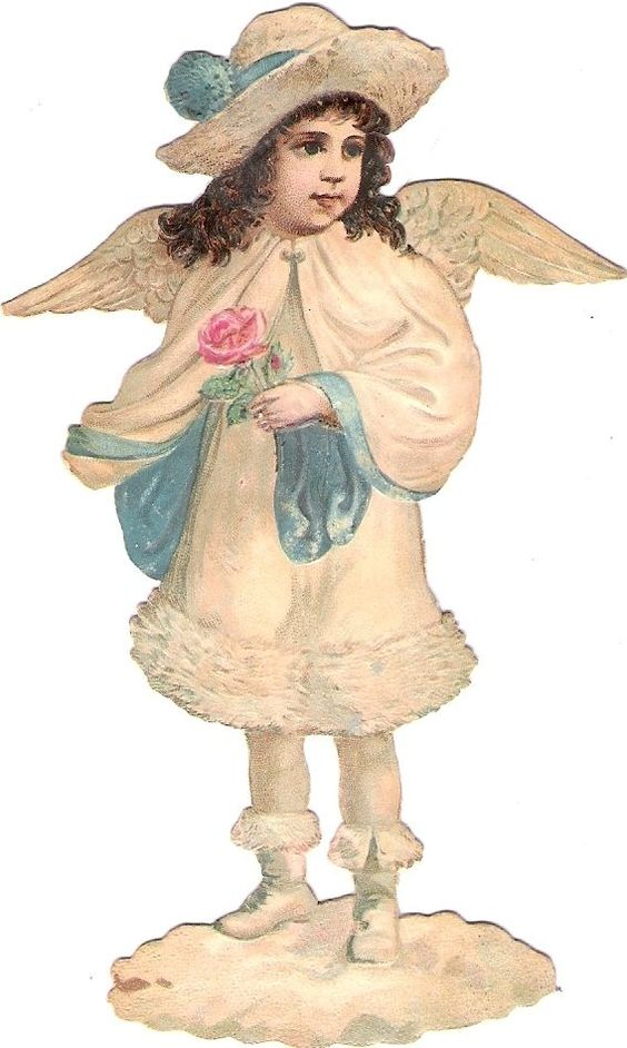 Oblaten Glanzbild scrap die cut Engel angel Winter Schnee XMAS Weihnachten MICA: