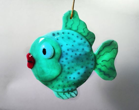 SUNCATCHER-ORNAMENT  Fused Glass Fish  by OstisInspirations