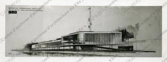 Fonds Pingusson, Georges-Henri (1894-1978) 1936-1937. Exposition internationale de Paris, 1937. Pavillon de l'UAM, quai d'Orsay, Paris 7e : vue d'une perspective d'ensemble, n.d. (cliché Chevojon)