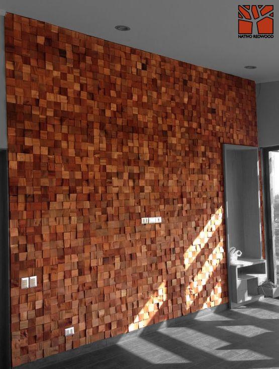 Nativo redwood revestimiento muro mosaicwood de tacos de for Revestimiento de muros