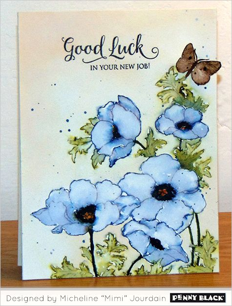 Poppy Gems: PB, Distress Stains: Chipped Sapphire, Dried Marigold, Peeled Paint, Vintage Photo; watercolor, flower sketch, mimi