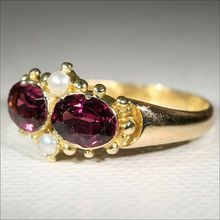 I bet this one looks dramatic when worn.  Really nice colour.  Antique 15k Victorian Garnet and Pearl Ring, Hallmarked Birmingham, England 1864