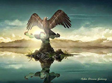 Aguila, serpiente y nopal. Mexico.