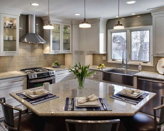 An Oddly Shaped Kitchen Island: Small L Shaped Kitchens, Kitchens With Islands And L