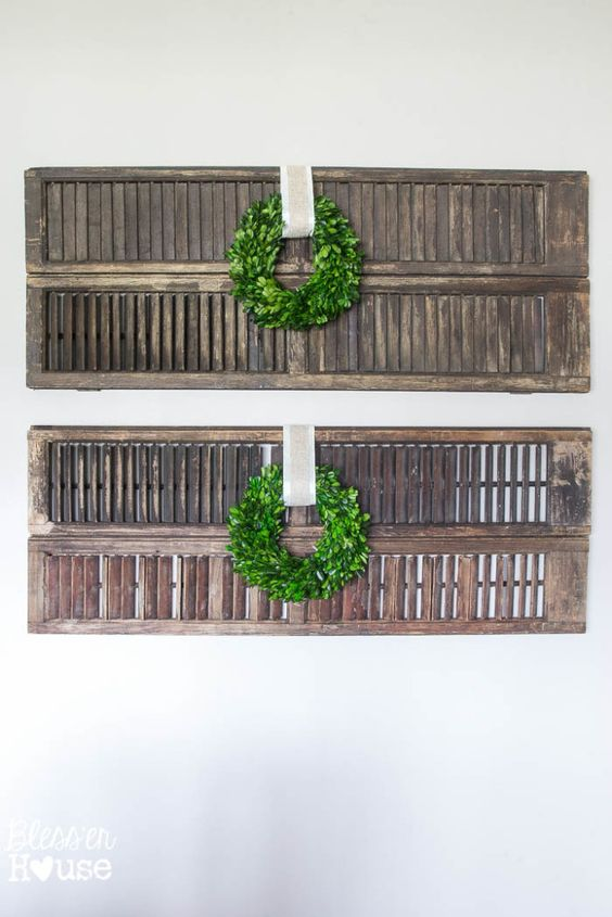 Thrifty Shutter Wall Décor. Boxwood wreaths from Target.
