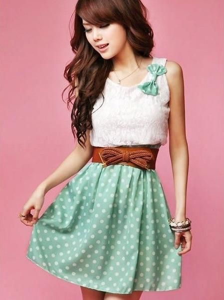 I found 'Polka Dots Print Bowknot Embellished Color Block Sleeveless Cotton Dress' on Wish, check it out!