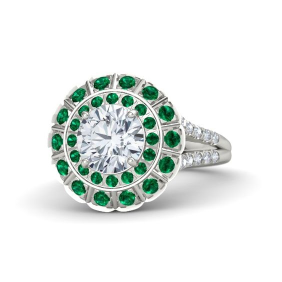 Brilliant Jessamine Ring | Round Diamond 14K White Gold Ring with Emerald and Diamond