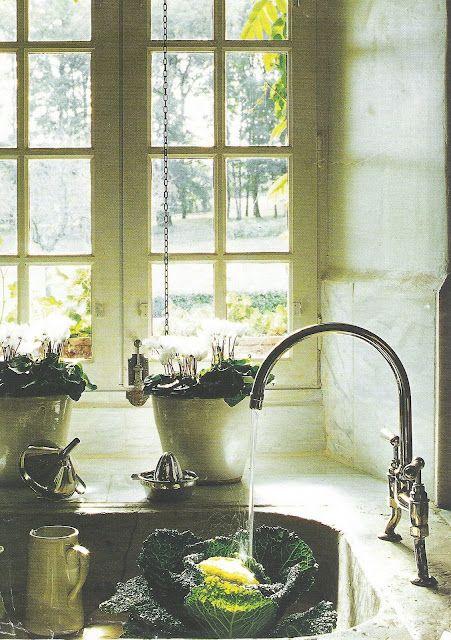 Lovely Rustic Sink Scene Deep Set Window Sill