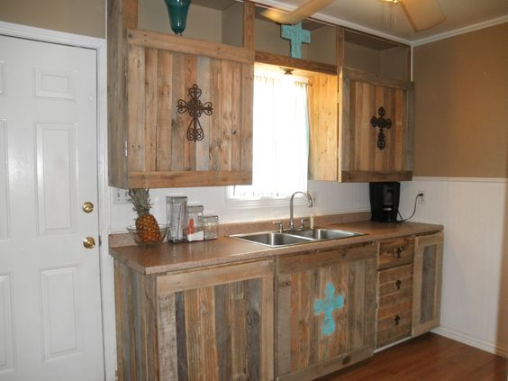 Recycled pallets cabinets and pallets on pinterest for Pallet kitchen cupboards