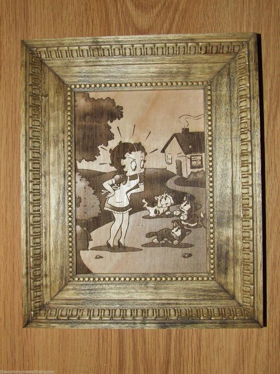 "BETTY BOOP AND CATS WOOD ETCHED PICTURE IN HANDMADE FRAME UNIQUE 8.5"" X 10.5"""