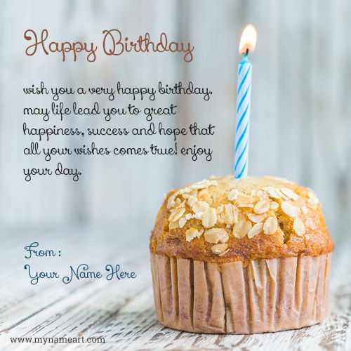 Birthday Cupcake Card Image With Name Generate Online Write