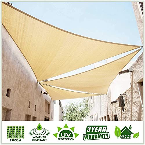 Amazing Offer On Colourtree 12 X 12 X 17 Beige Sun Shade Sail Right Triangle Canopy Awning Shelter Fabric Screen Uv Block Uv Resistant Heavy Duty Commercia In 2020 Shade