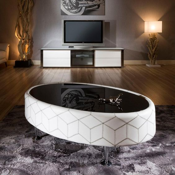 White Leather and black glass oval coffee table