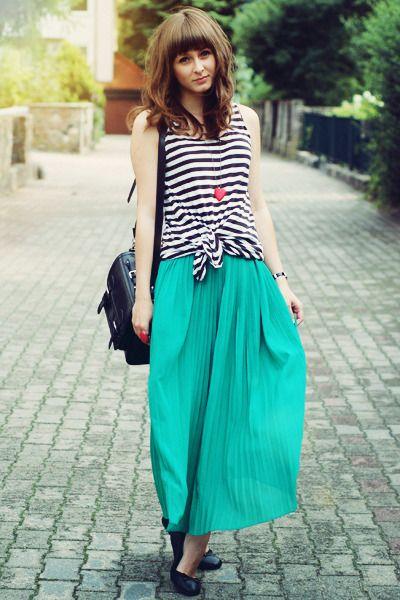 Black-romwe-bag-white-h-m-top-teal-romwe-skirt