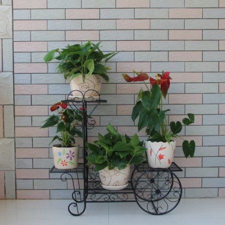 Black Bicycle Large 3 Pots Plant Planter Herbs Flower