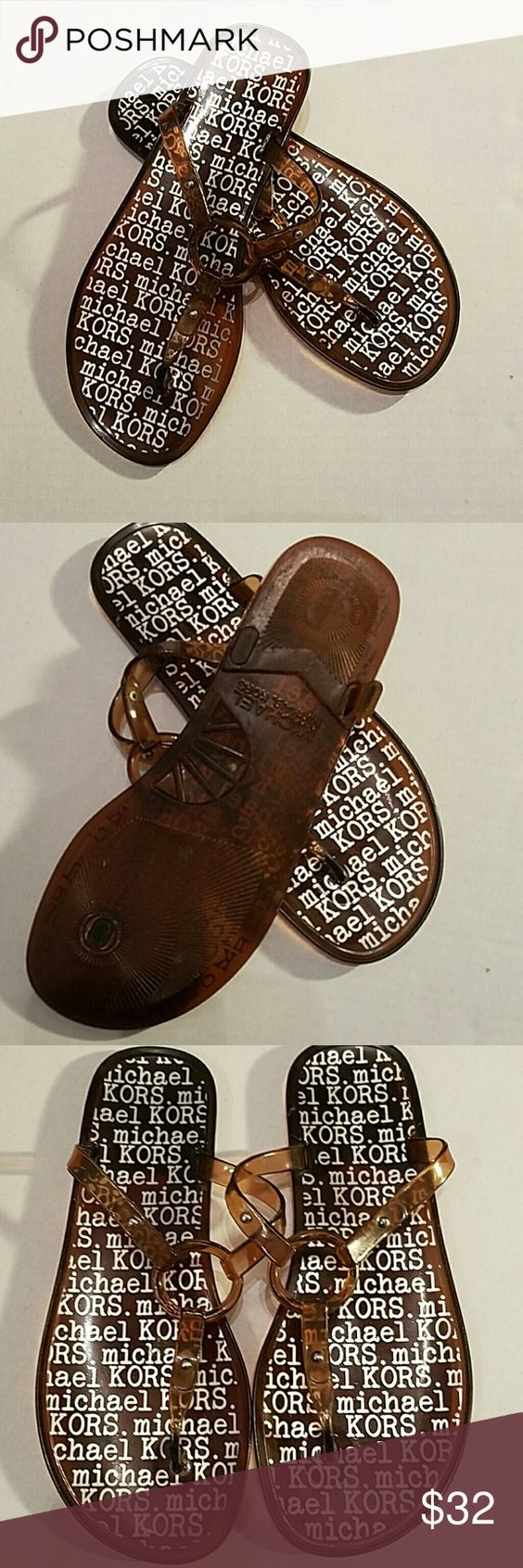 Michael Kors Sandles Size 7 plastic Sandles..these Sandles do not show the size although I know they are a size 7. Color is clear gold and will go with anything MICHAEL Michael Kors Shoes Sandals