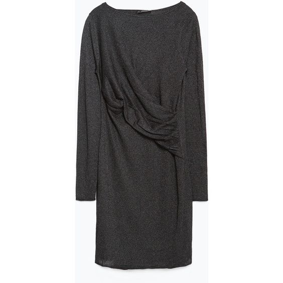 Zara Dress With Draped Front ($50) ❤ liked on Polyvore featuring dresses, anthracite grey, grey dress, gray dress, line dress, zara dresses and drape front dress