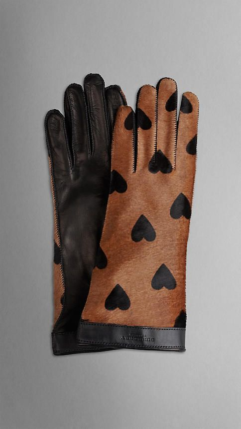 Heart Print Calfskin Gloves | Burberry