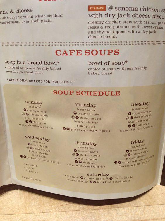Panera soup schedule.