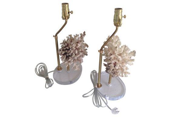 Ocean Coral Lamps, Pair