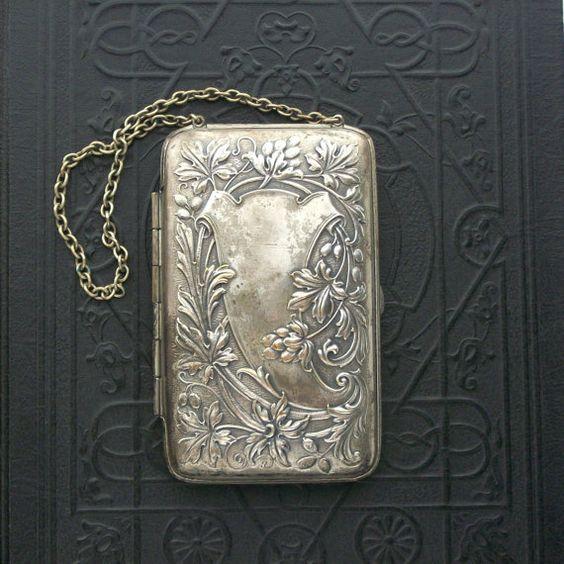 antique compact purse art nouveau coins calling cards by thedeeps fabulous vintage. Black Bedroom Furniture Sets. Home Design Ideas