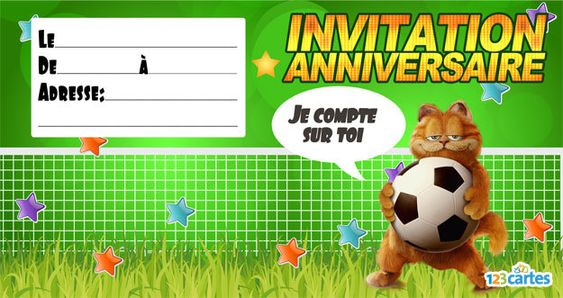 Invitation anniversaire Garfield