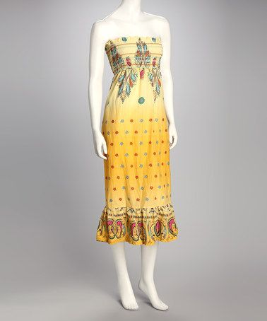 Take a look at this Yellow Strapless Midi Dress by Jazzy Martini on #zulily today! $19.99