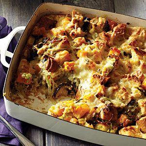 Wild Mushroom and Butternut Squash Bread Pudding   MyRecipes.com