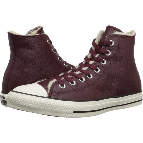 Converse Chuck Taylor All Star Hi Leather/Shearling Classic Shoes (140 SAR) ❤ liked on Polyvore featuring shoes, brown, print shoes, brown lace up shoes, pattern leather shoes, star shoes and laced shoes
