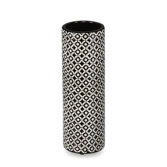 Vase en c ramique motifs ronds noirs et blancs h30 5cm for Objet deco noir blanc interieur