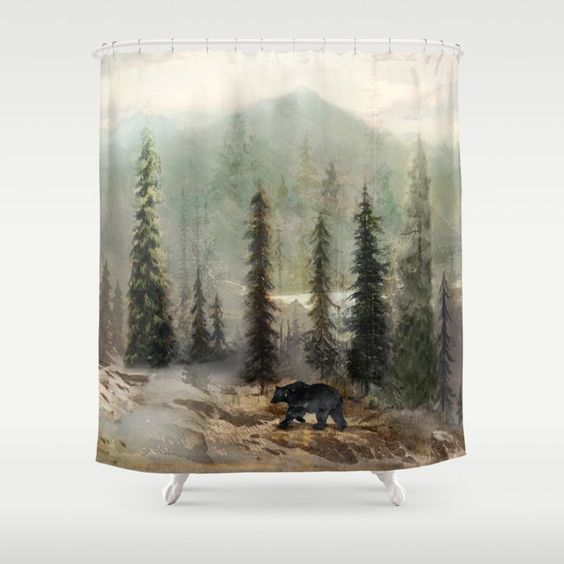 Mountain Black Bear Shower Curtain By Nadja1 Ad Ad Affiliate