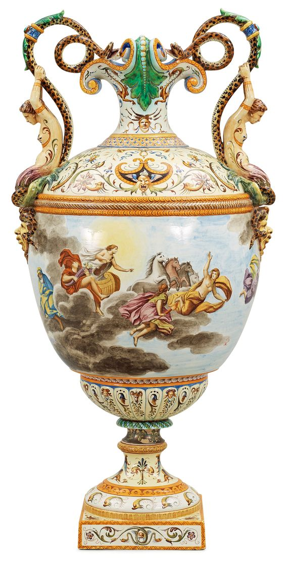 A large majolica 'Historismus' vase, late 19th Century. Height 112 cm.