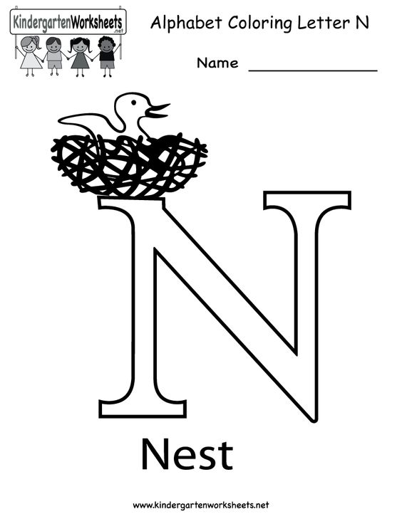 Kindergarten Letter N Coloring Worksheet Printable N Letter Theme