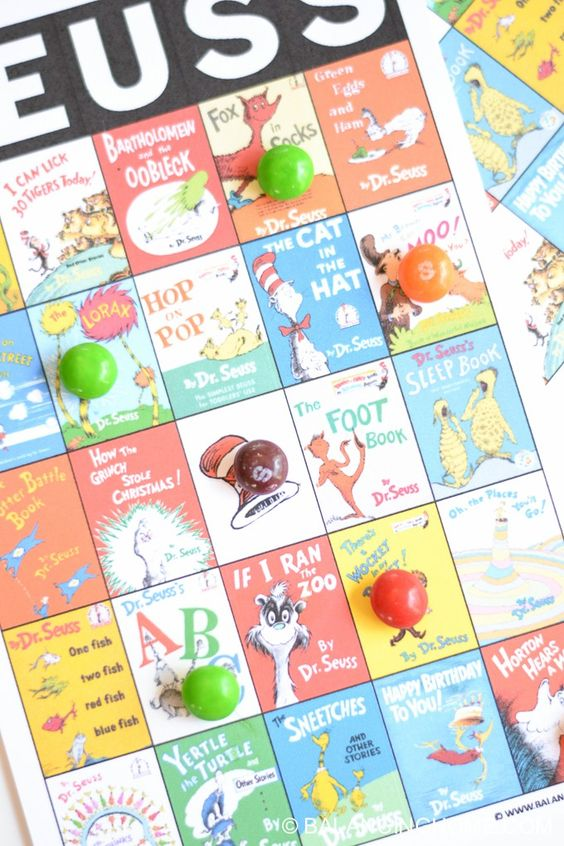 printable Dr. Seuss bingo cards. Super fun game for a party, baby shower or the classroom.: