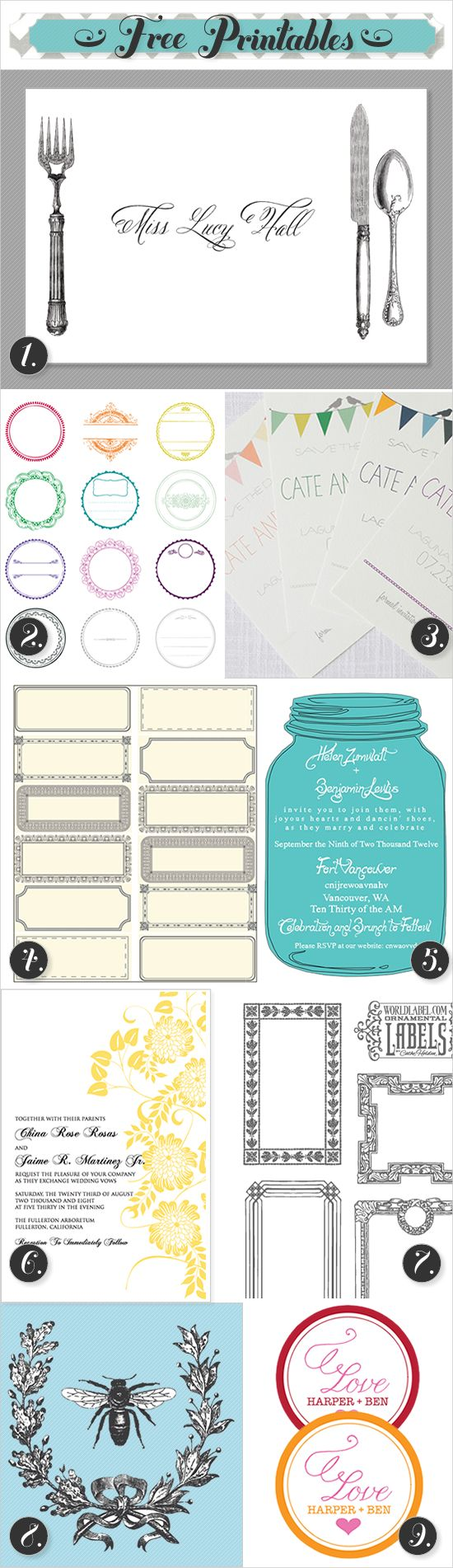 FREE PRINTABLES FOR YOU! Just go to the site click on invitations, ext. choose your design, write in your names or dates, and your ready to save your FREE and EASY Invitations, lables ext.