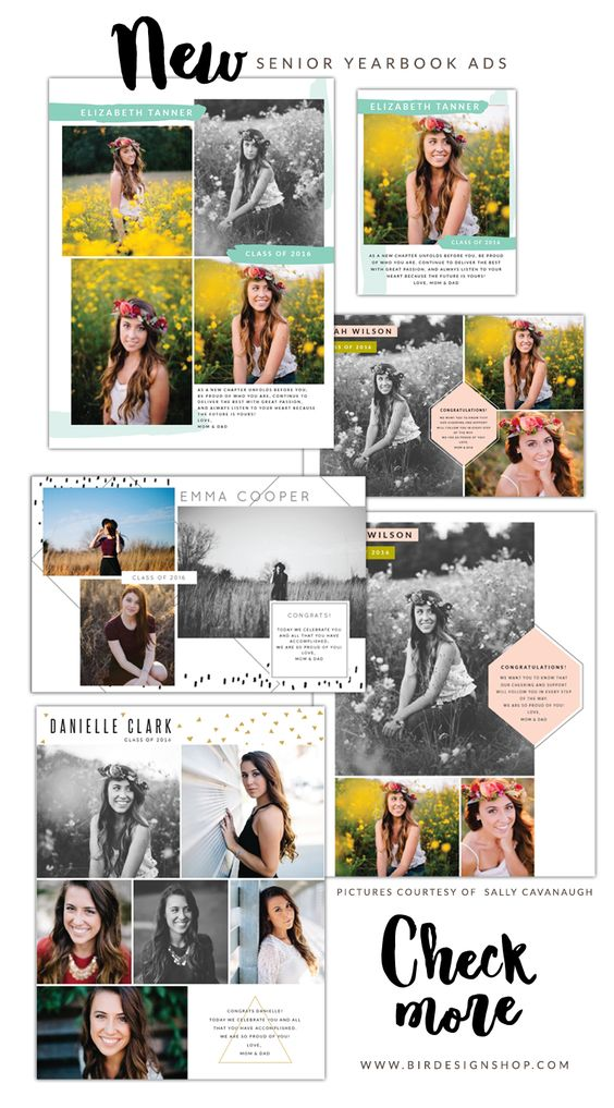 New Senior Yearbook ads | Photoshop templates for photographers by Birdesign