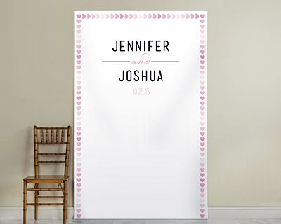 Personalized Pink Watercolor Hearts Design Photo Backdrop